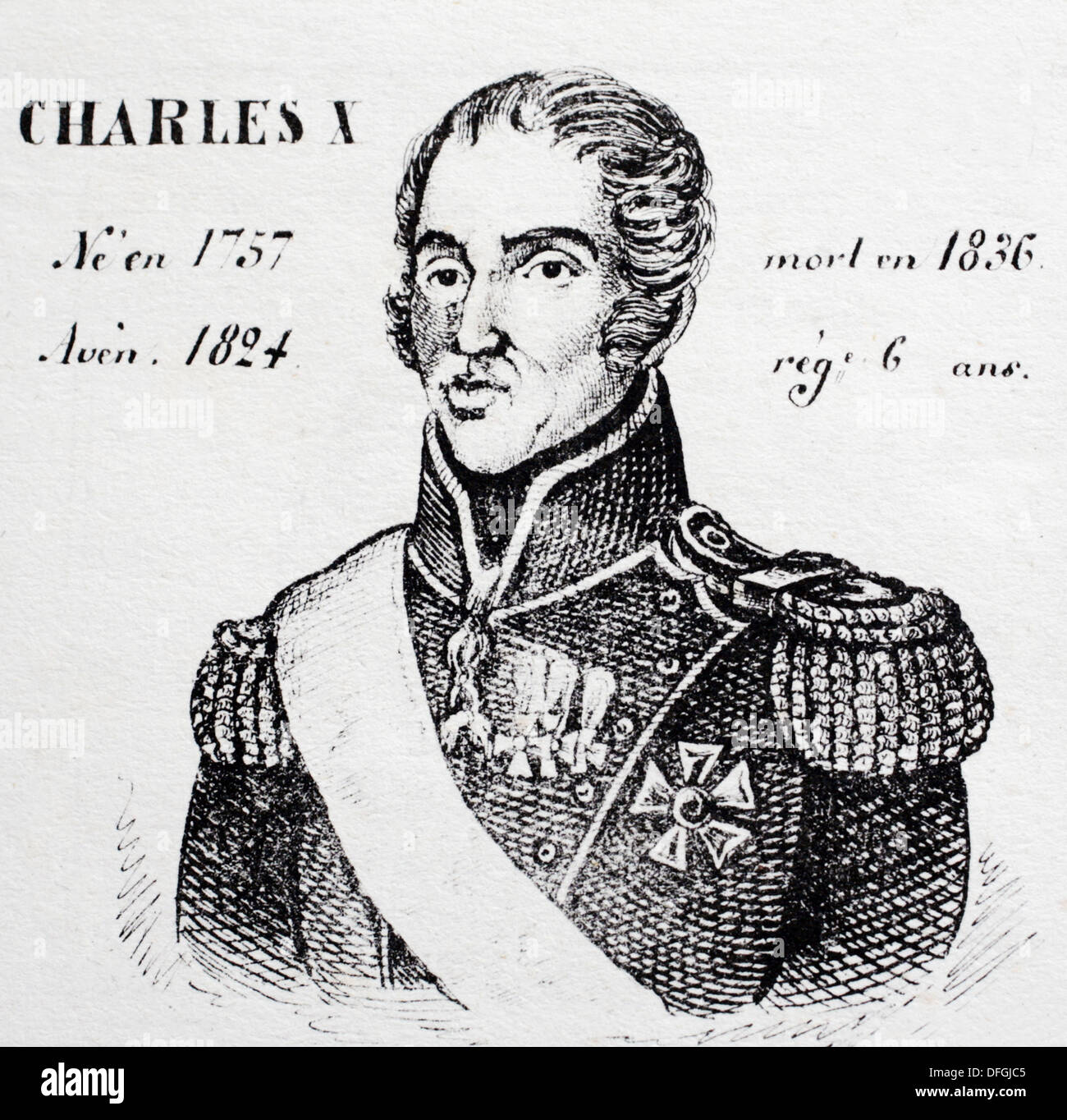 Charles X, king of France from 1824 to 1830. History of France, by  J.Henry (Paris, 1842) - Stock Image