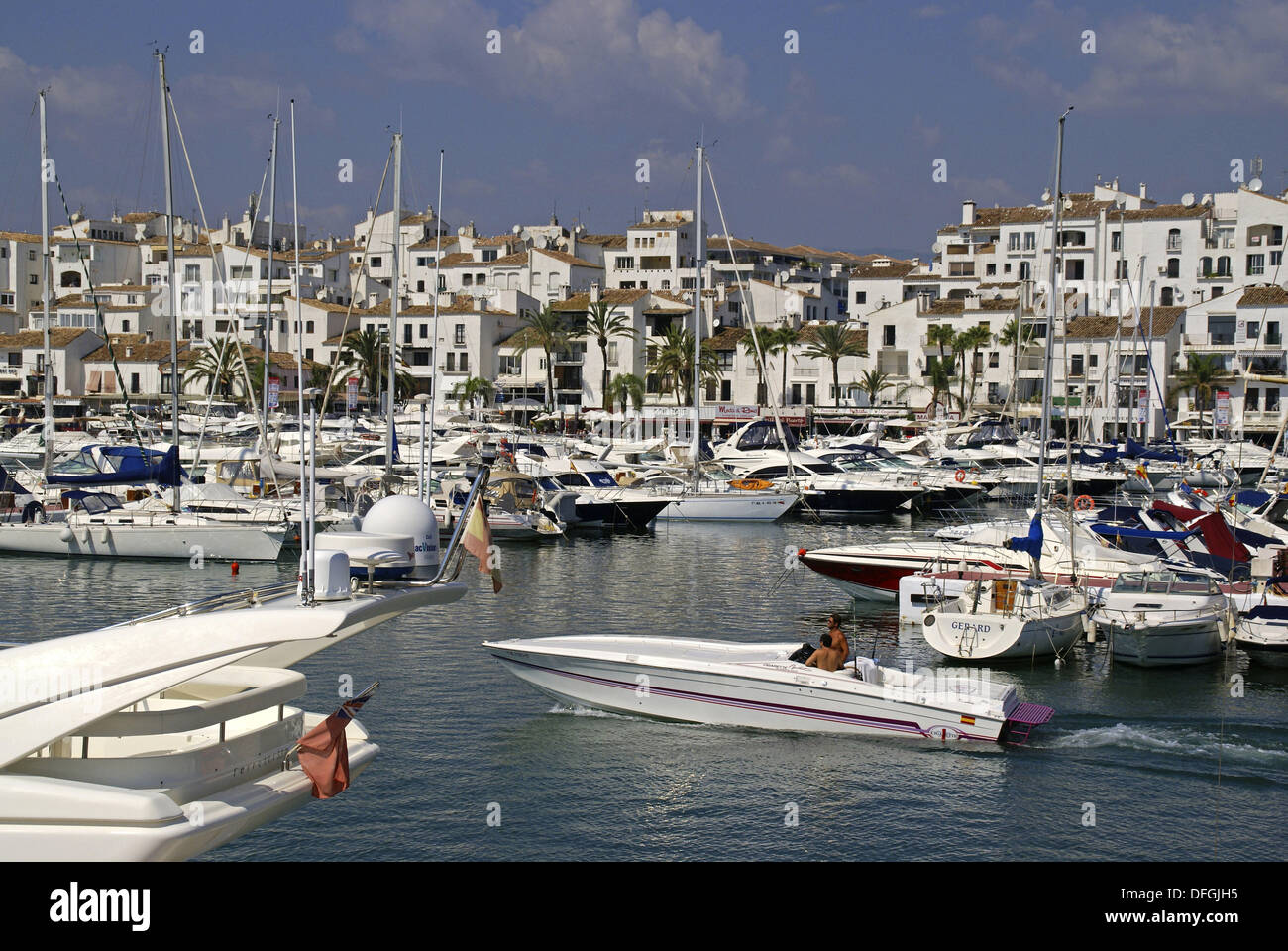 Exclusive yacht harbour of Puerto Banús near the town of Marbella at the Costa del Sol. Málaga province, - Stock Image