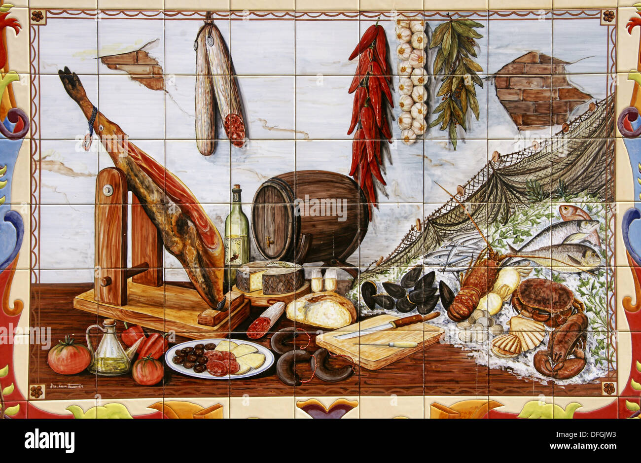 Painting on ceramic tiles of Andalusian food. Malaga, Andalusia ...