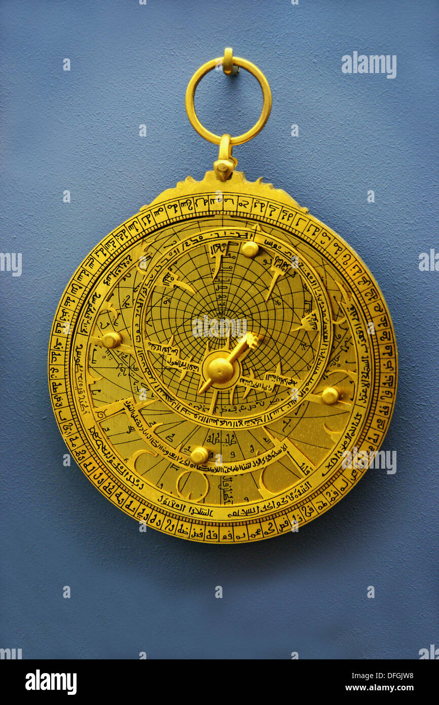 Astrolabe preserved in Islamic Museum, Sharjah, UAE (United Arab Emirates) - Stock Image