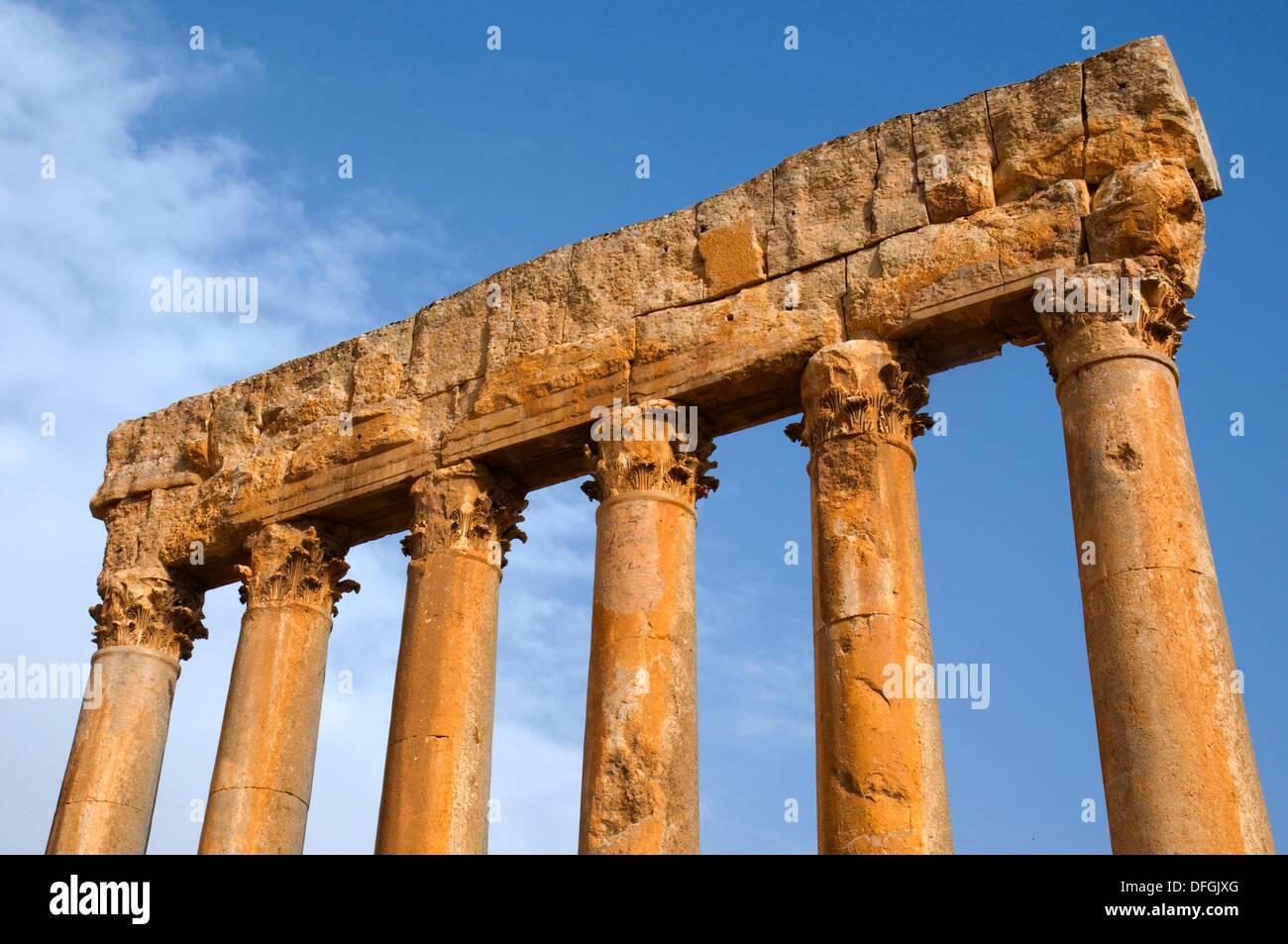 Temple of Jupiter , Baalbek,UNESCO World Heritage Site  Bekaa valley  Lebanon - Stock Image