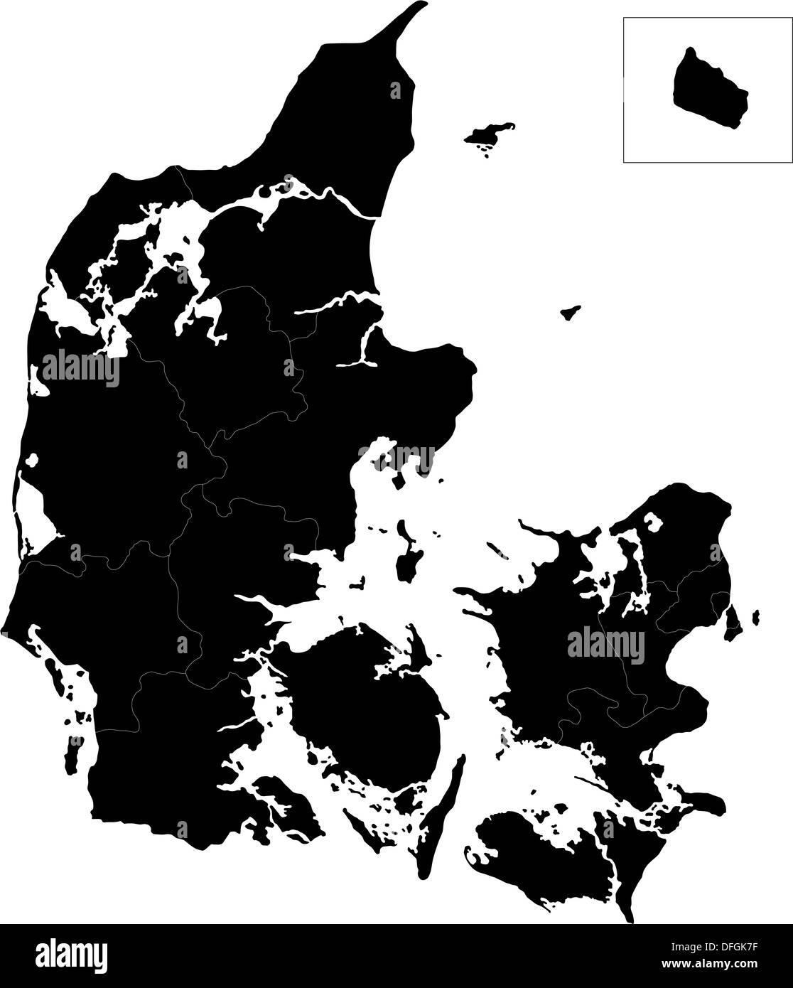 Black Denmark map - Stock Image