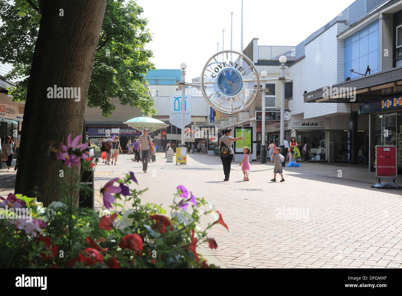 Market Way pedestrianized shopping centre in the City of Coventry, in Warwickshire, West Midlands, England, UK - Stock Image
