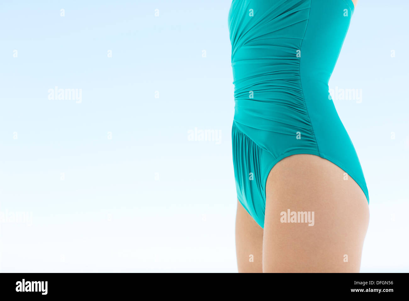 Close up of woman in bathing suit - Stock Image