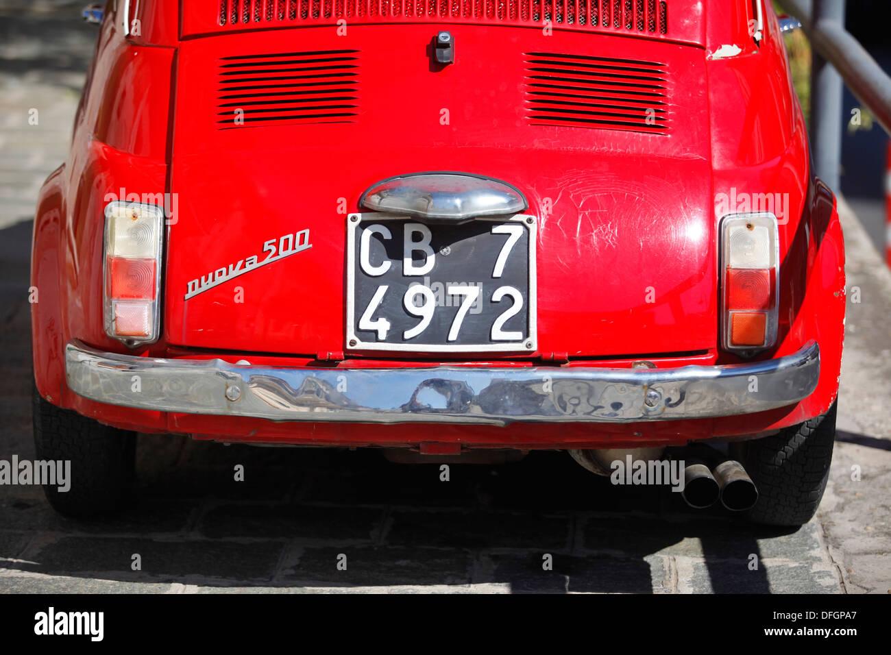 A red Fiat 500 Cinquecento. - Stock Image