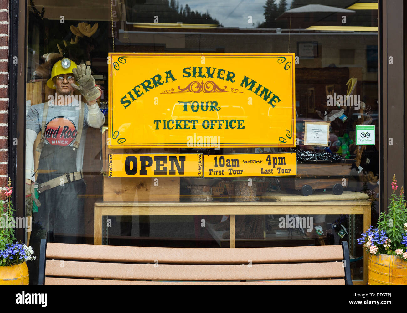 Sierra Silver Mine Tour office, Bank Street (Main Street) in the historic old silver mining town of Wallace, Idaho, USA - Stock Image