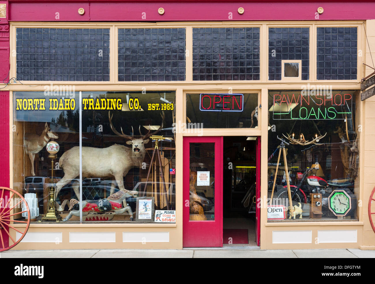 Pawn shop on Bank Street (Main Street) in the historic old silver mining town of Wallace, Idaho, USA - Stock Image