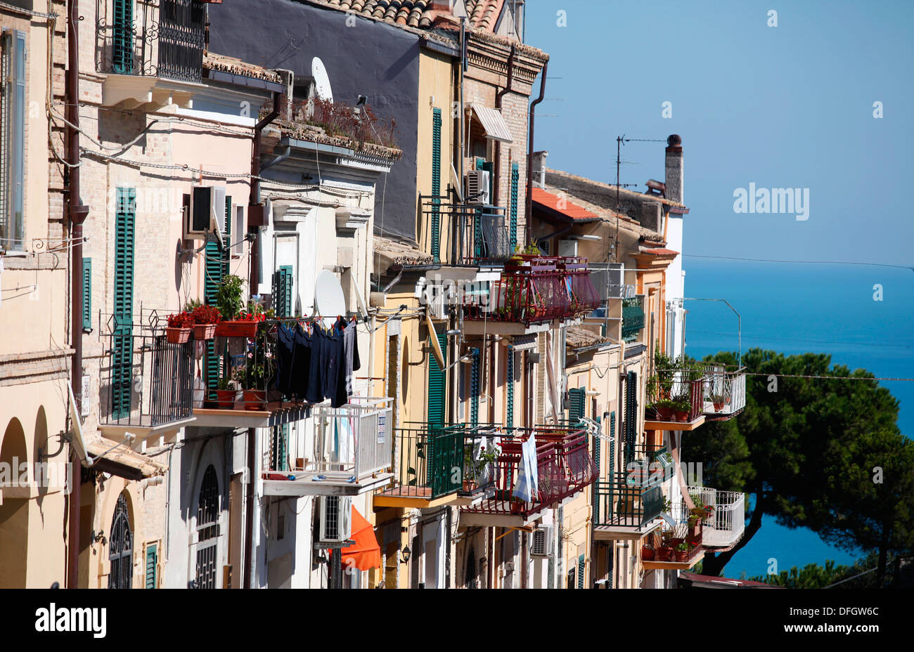 Balconies on a terrace of houses in Vasto, Italy. - Stock Image