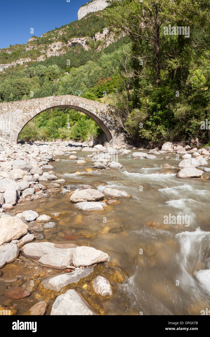 Pon Nou or Pilgrim's bridge in Canfranc, Huesca, Spain - Stock Image