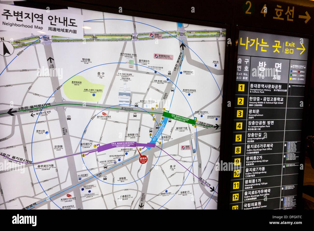 Interactive Digital Map At Subway Station In Seoul Korea Stock
