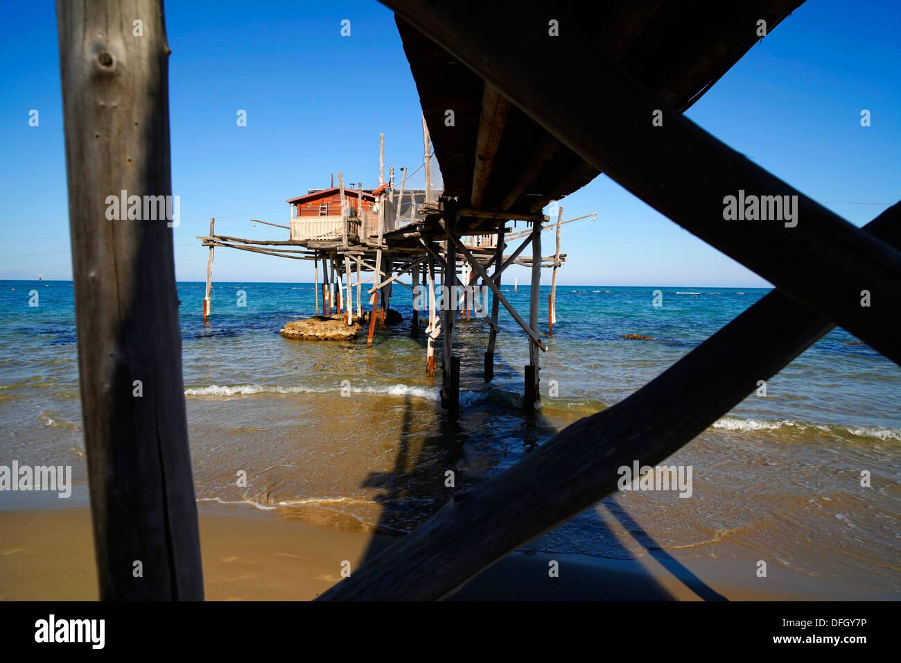 A fisherman's trabiocci on the Adriatic coast near Vasto in Italy. - Stock Image
