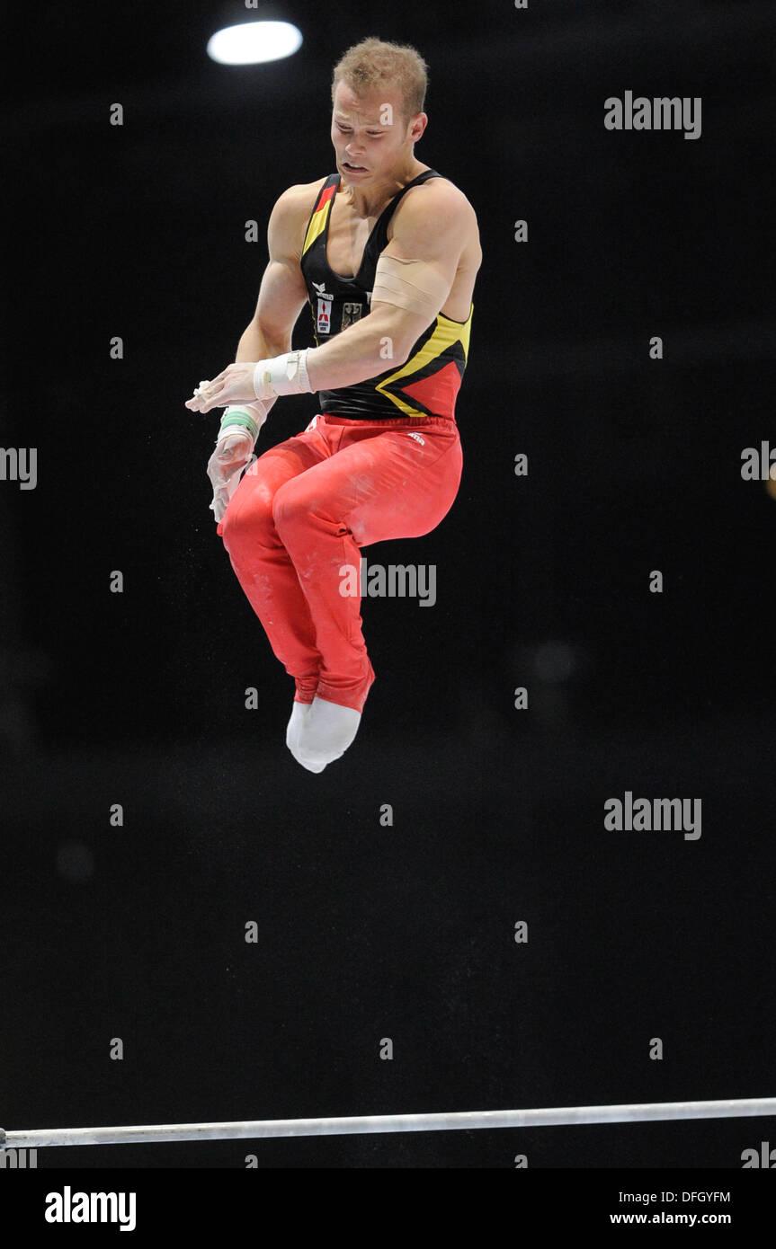 Antwerp, Belgium. 3rd October 2013.World Championship Gymnastics Antwerp Belgium. Mens All-Around Finals 3.10.13 Fabian Hambuechen of Germany © ALAN EDWARDS/Alamy Live News - Stock Image