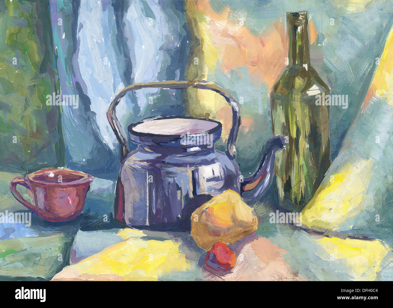 Still life with Metal Teapot and Bottle. Painting. Gouache on Paper - Stock Image