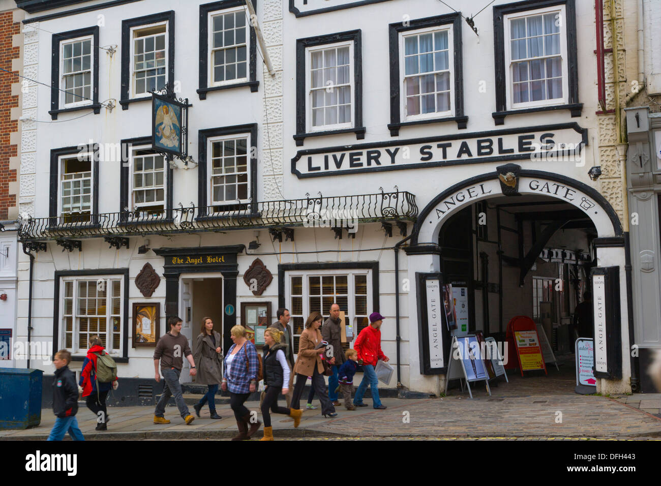 The Angel Posting House & Livery, Angel Gate, High Street, Guildford, Surrey, England, UK. - Stock Image