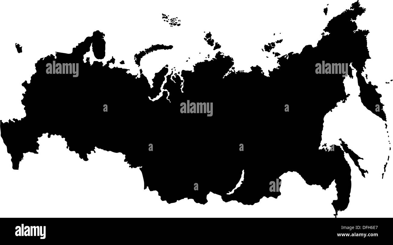 Black Russia map - Stock Image