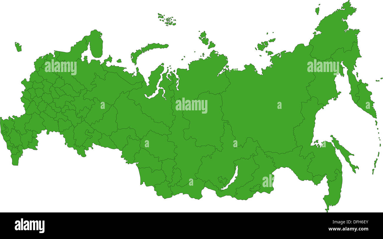 Green Russia map - Stock Image