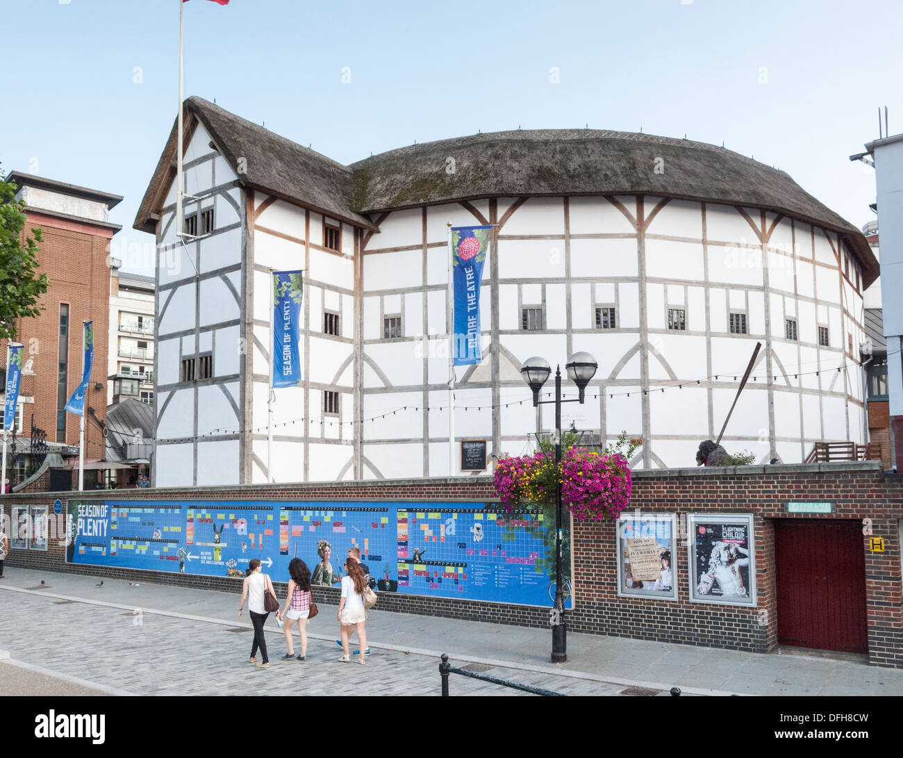Globe Theatre, which hosts performances of William Shakespeare's plays in the round, on the South Bank, Embankment, London, UK - Stock Image