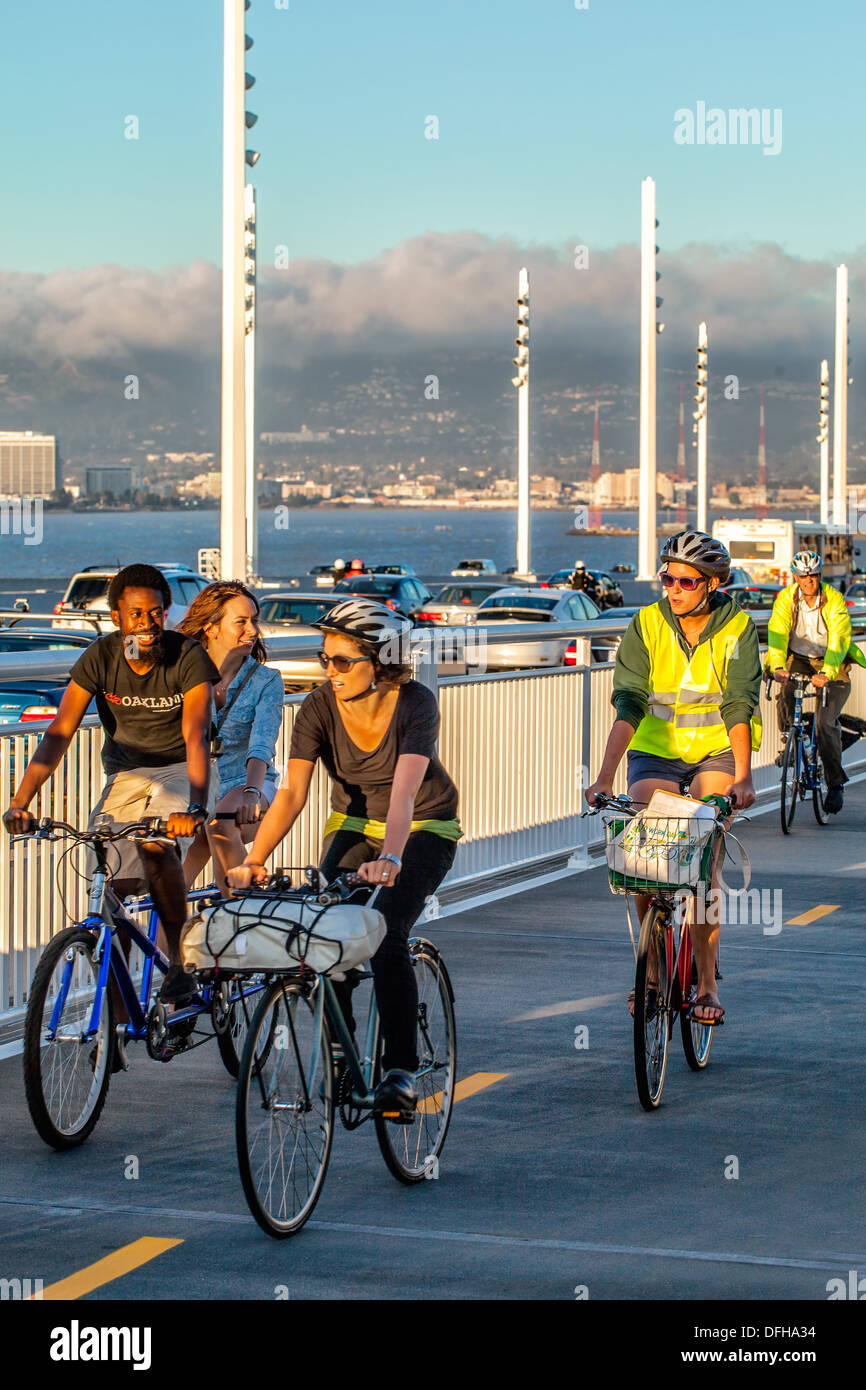 Opening day of the new San Francisco-Oakland Bay Bridge on Sept.3, 2013 in San Francisco, CA. Bicyclists on the new bike lane. - Stock Image