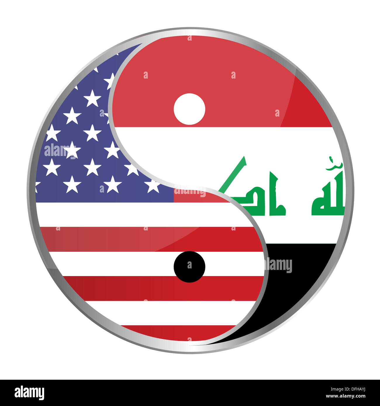 Ying yan symbol with the American and Iraqi flags. Vector File Available / Ying Yan - Stock Image