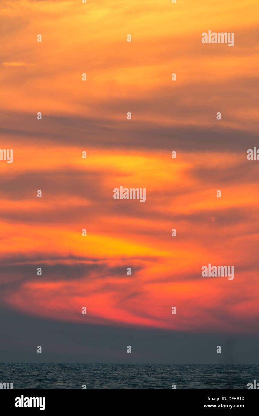 Sunset blazing sky - Fort Desoto, Florida. - Stock Image