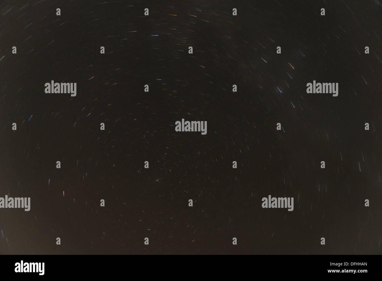 Stars are moving around polaris - Stock Image