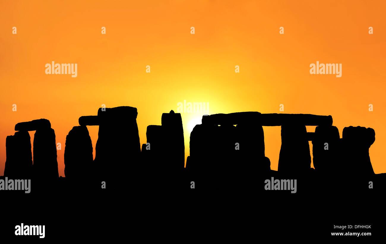 Sunset in the Stonehenge Stock Photo