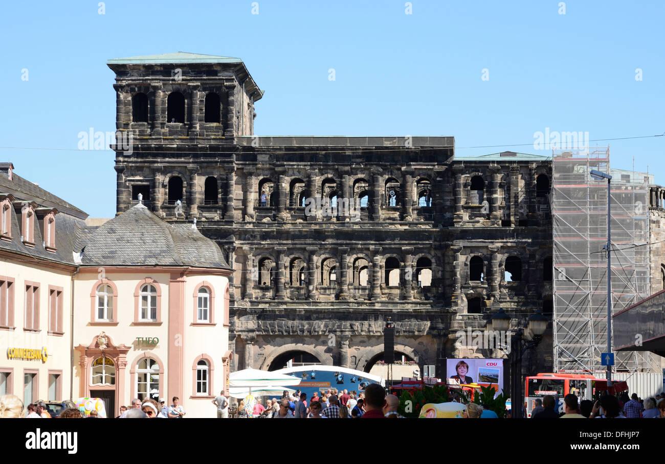 The Porta Nigra in Trier, Germany - Stock Image