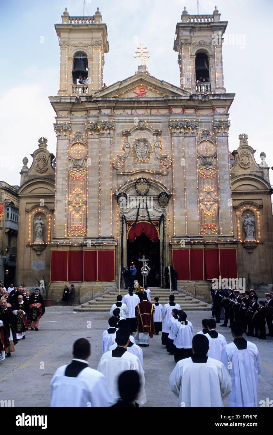 religious procession to the St George´s Basilica, Victoria, Gozo, Malta, Mediterranean Sea, Europe - Stock Image