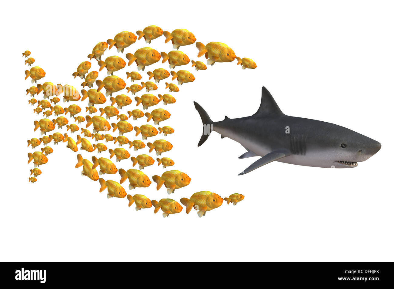 fish group chasing shark, concept unity is strength, 3d illustration - Stock Image