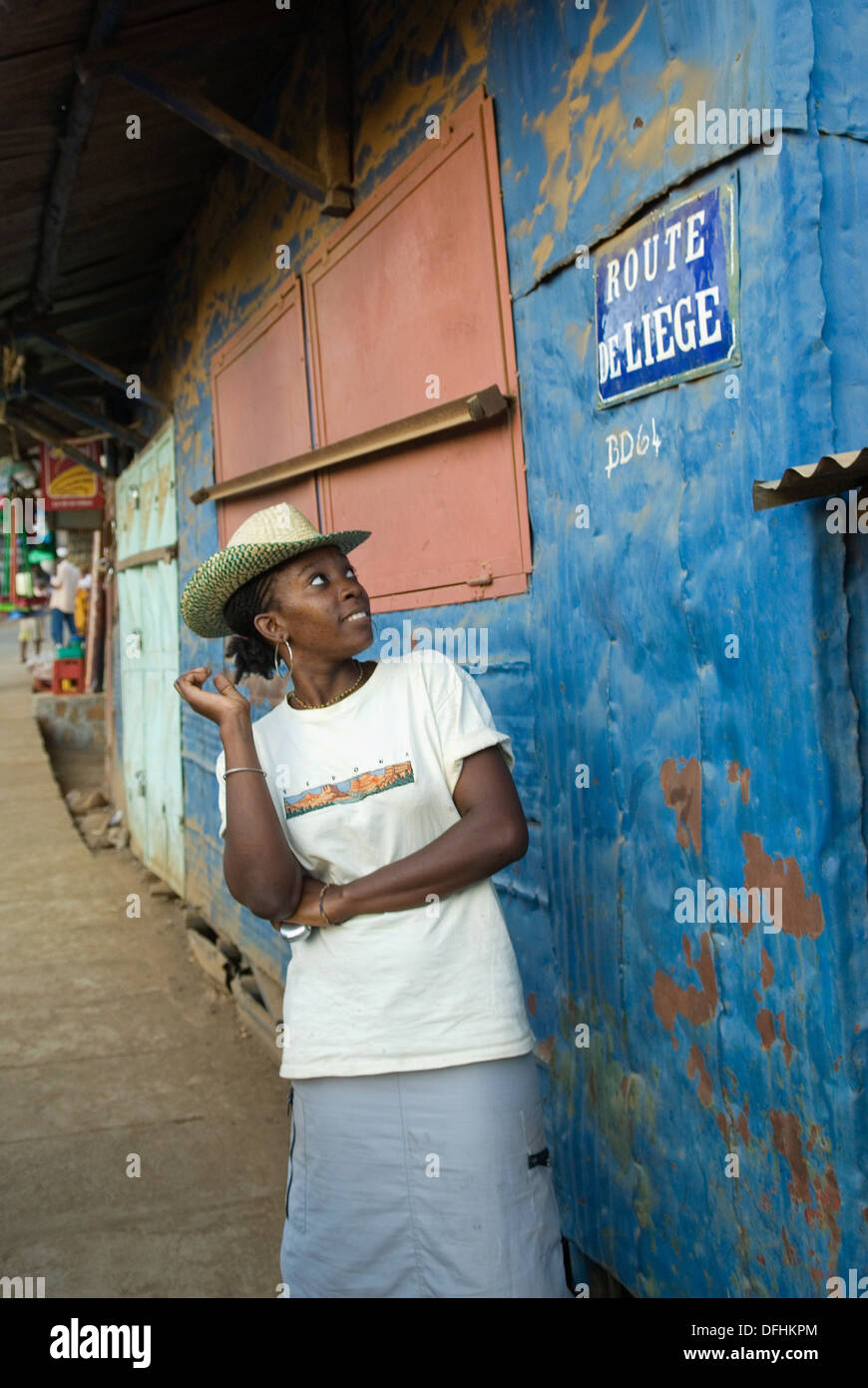 young Malagassy woman, Hell-Ville Andoany, Nosy Be island, Republic of Madagascar, Indian Ocean - Stock Image