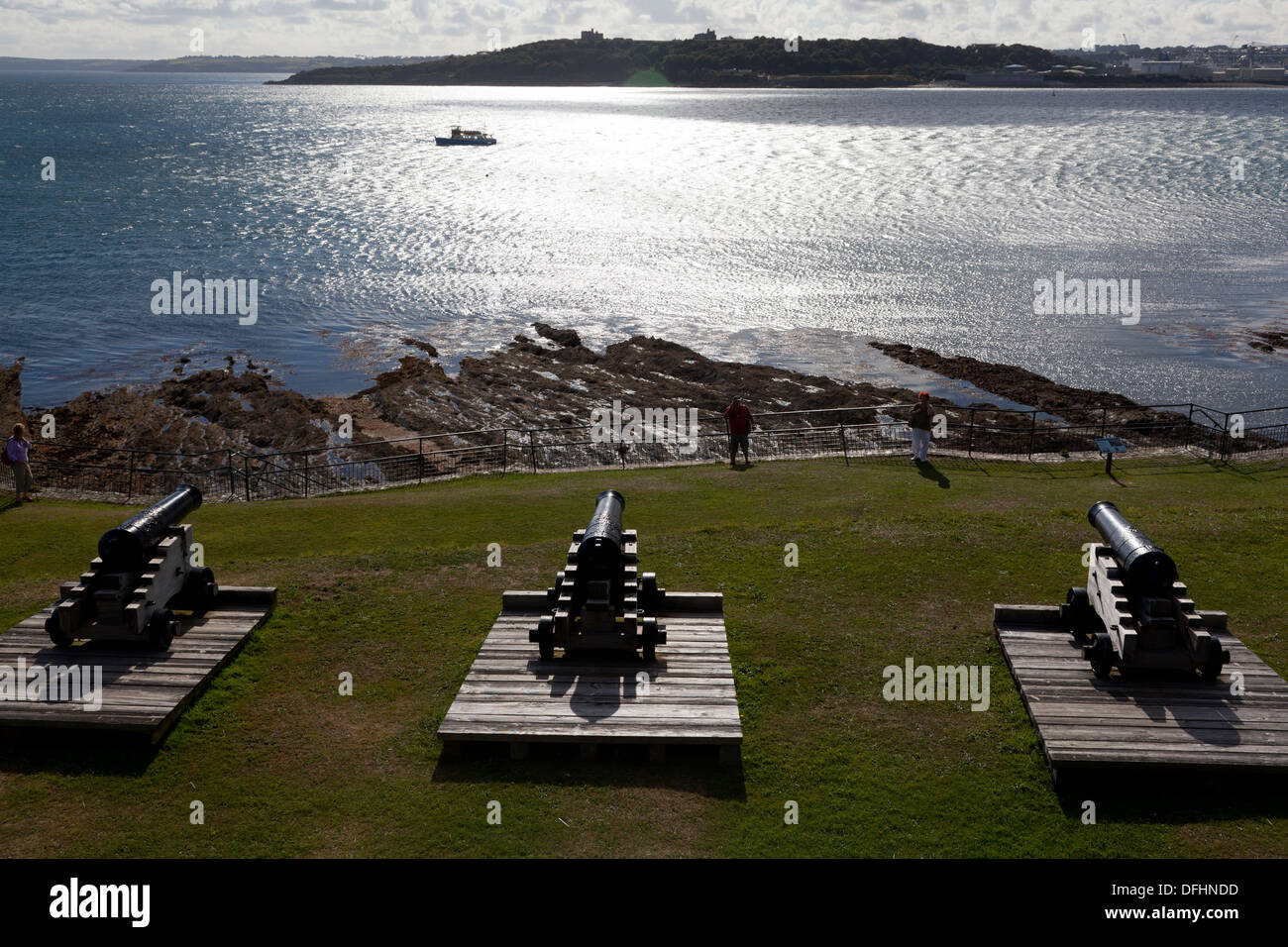 The cannons of St Mawes Castle facing across Carrick Roads, Cornwall - Stock Image