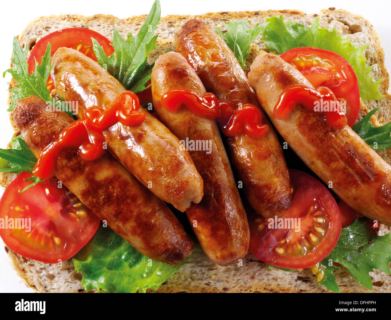 British Food - Sausage Sandwich - Stock Image