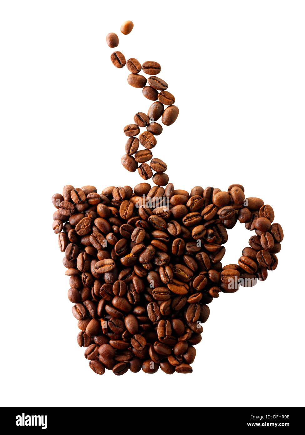 Coffee mug made out of coffee beans - Stock Image