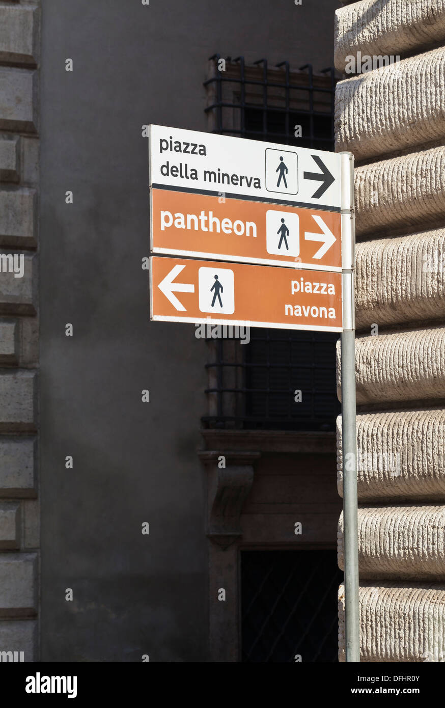 Directions to tourist locations in Rome, Italy - Stock Image