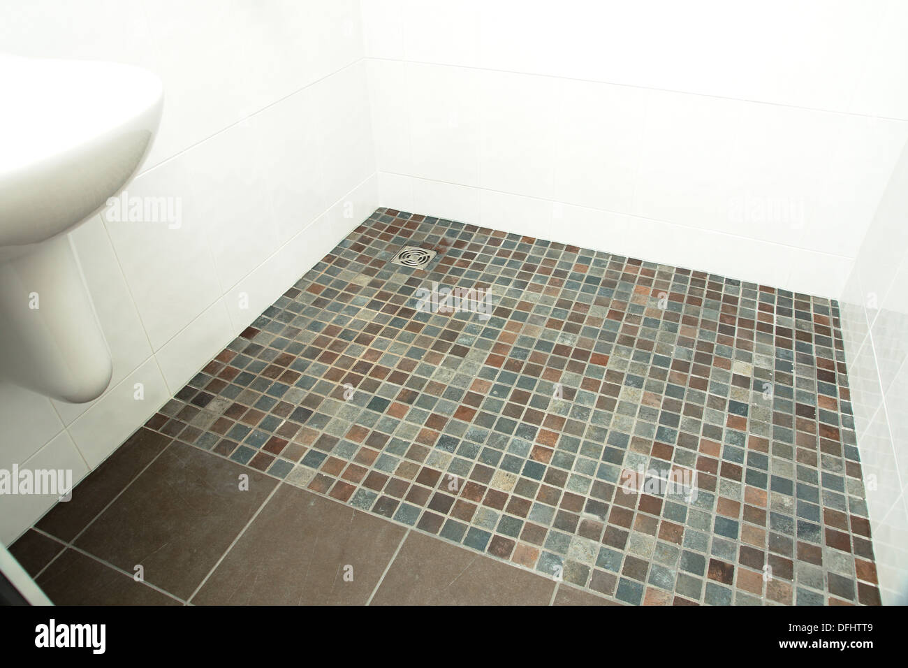 A specially adapted wet room shower bathroom with non slip tiles