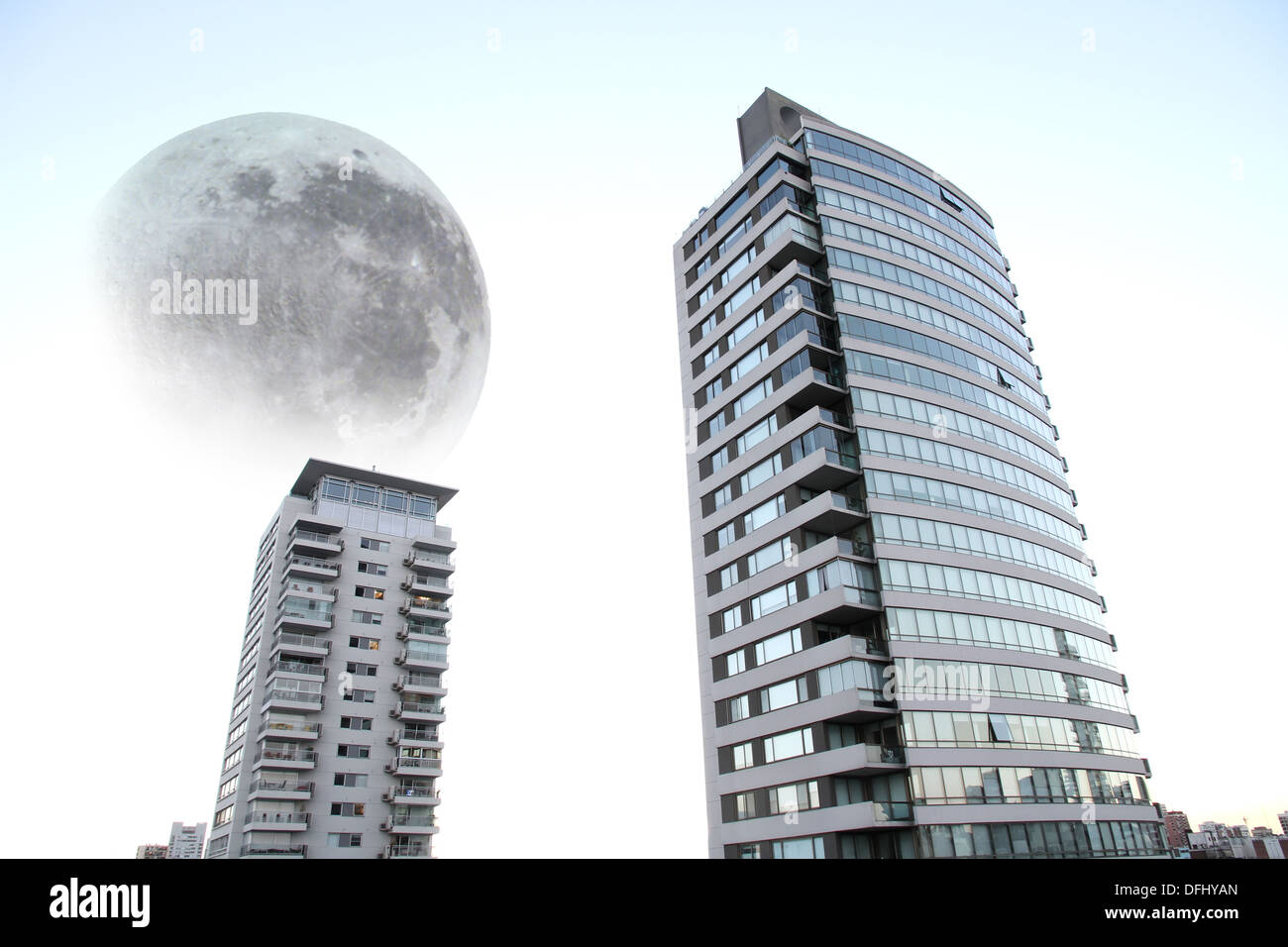 A giant moon over Buenos Aires, Argentina, South america. Composed image. - Stock Image