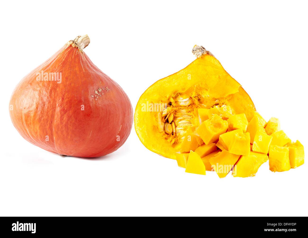 OrangeHokkaido Pumpkin (Red kuri squash) Stock Photo