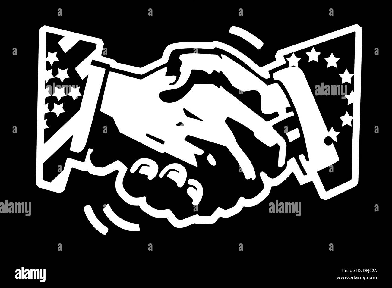 stencil drawing white on black painted wall of a handshake with usa and eu flags, trade relations concept - Stock Image