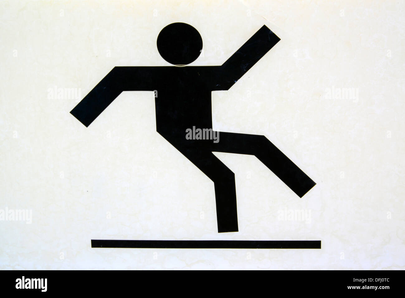Warning sign.'Slippery surface'. - Stock Image