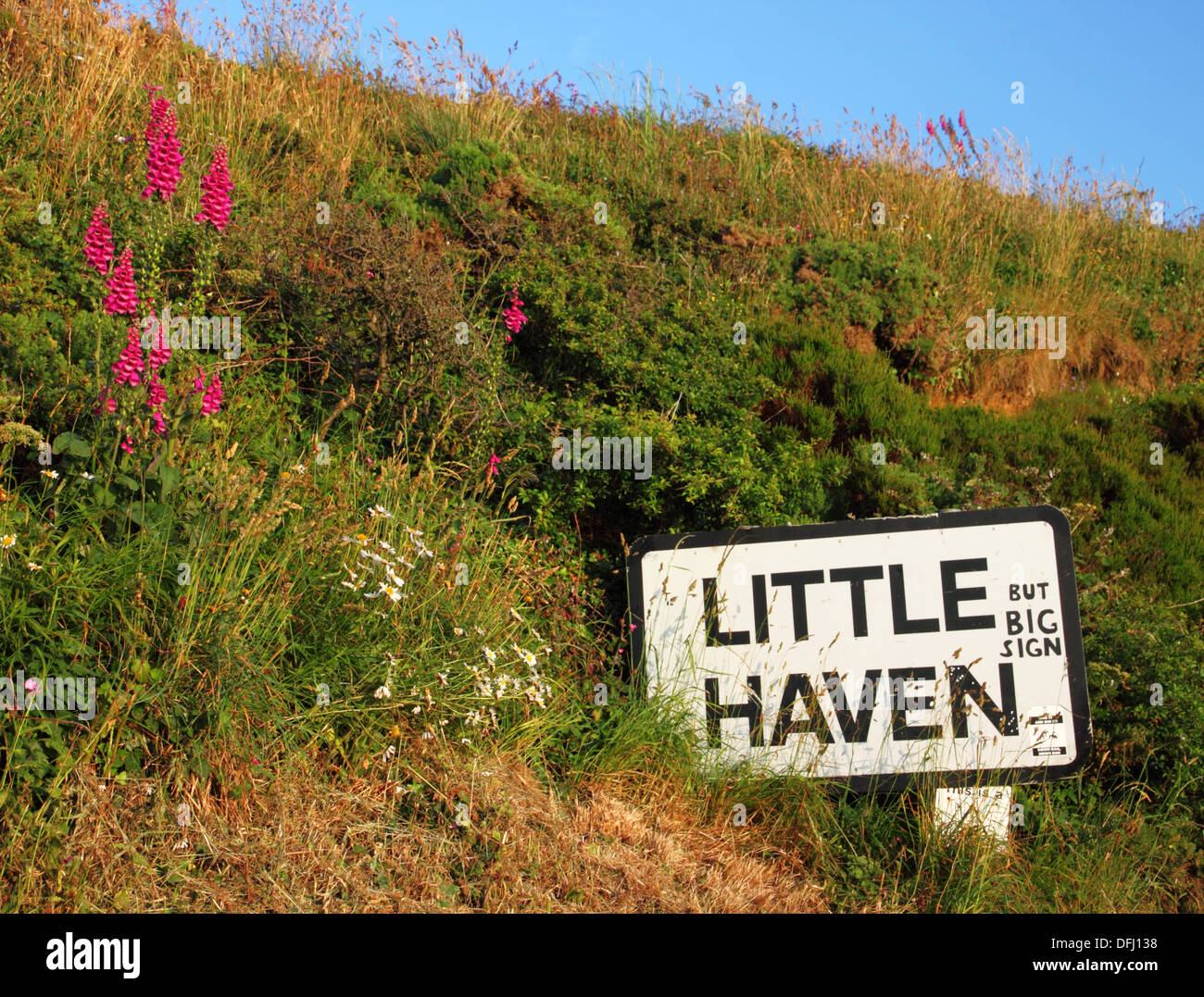 Village sign 'Little Haven' with graffiti. - Stock Image