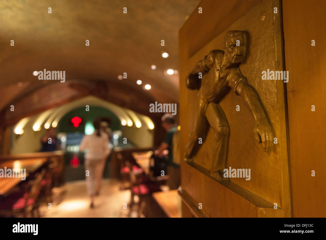 Bowling alley in the celler at the Chesa Grischuna Hotel. Klosters. Graubunden. Switzerland - Stock Image