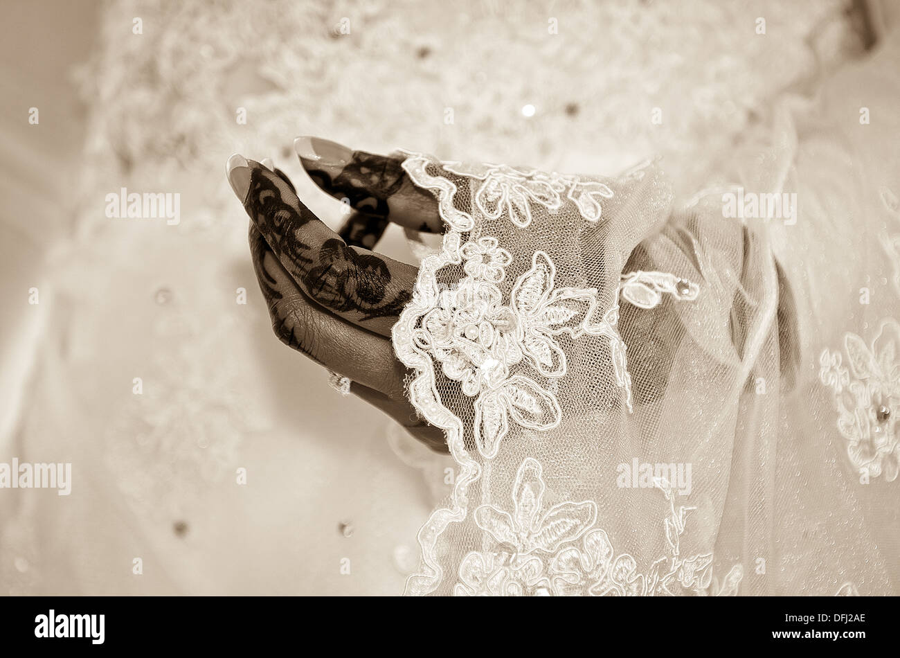 hand of a Muslim bride prepared for the ceremony - Stock Image