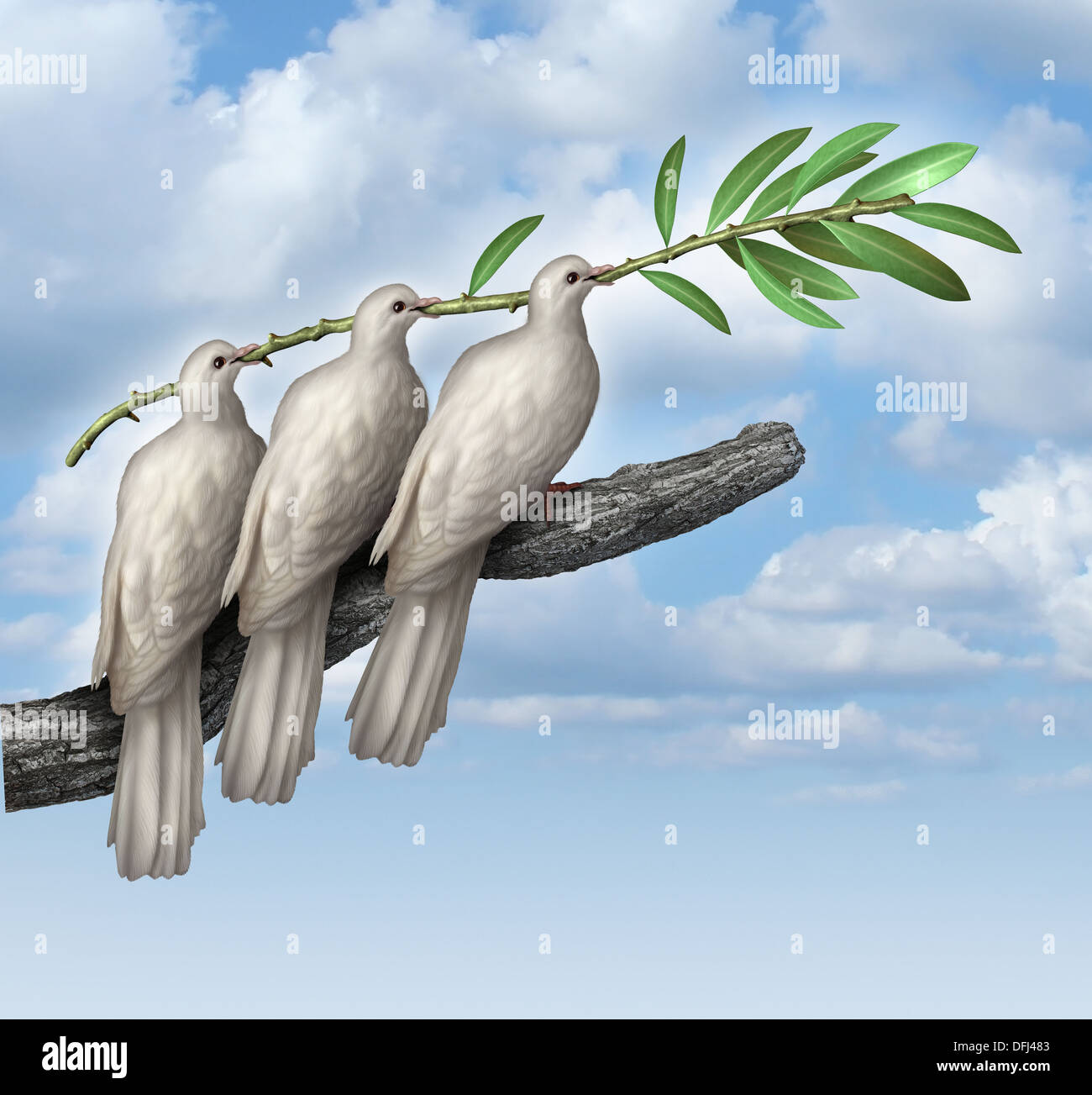 Group Diplomacy as a concept of negotiated peace with three white doves working together in partnership and friendship - Stock Image