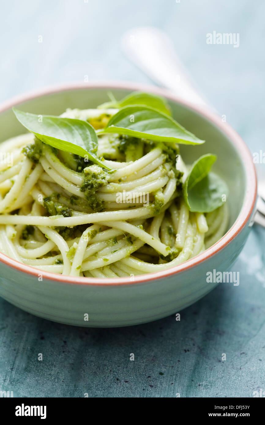 pasta with pesto - Stock Image