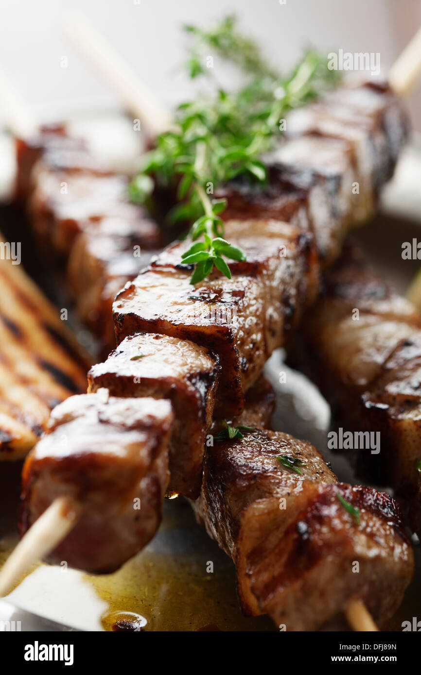 meat skewer with herbs - Stock Image