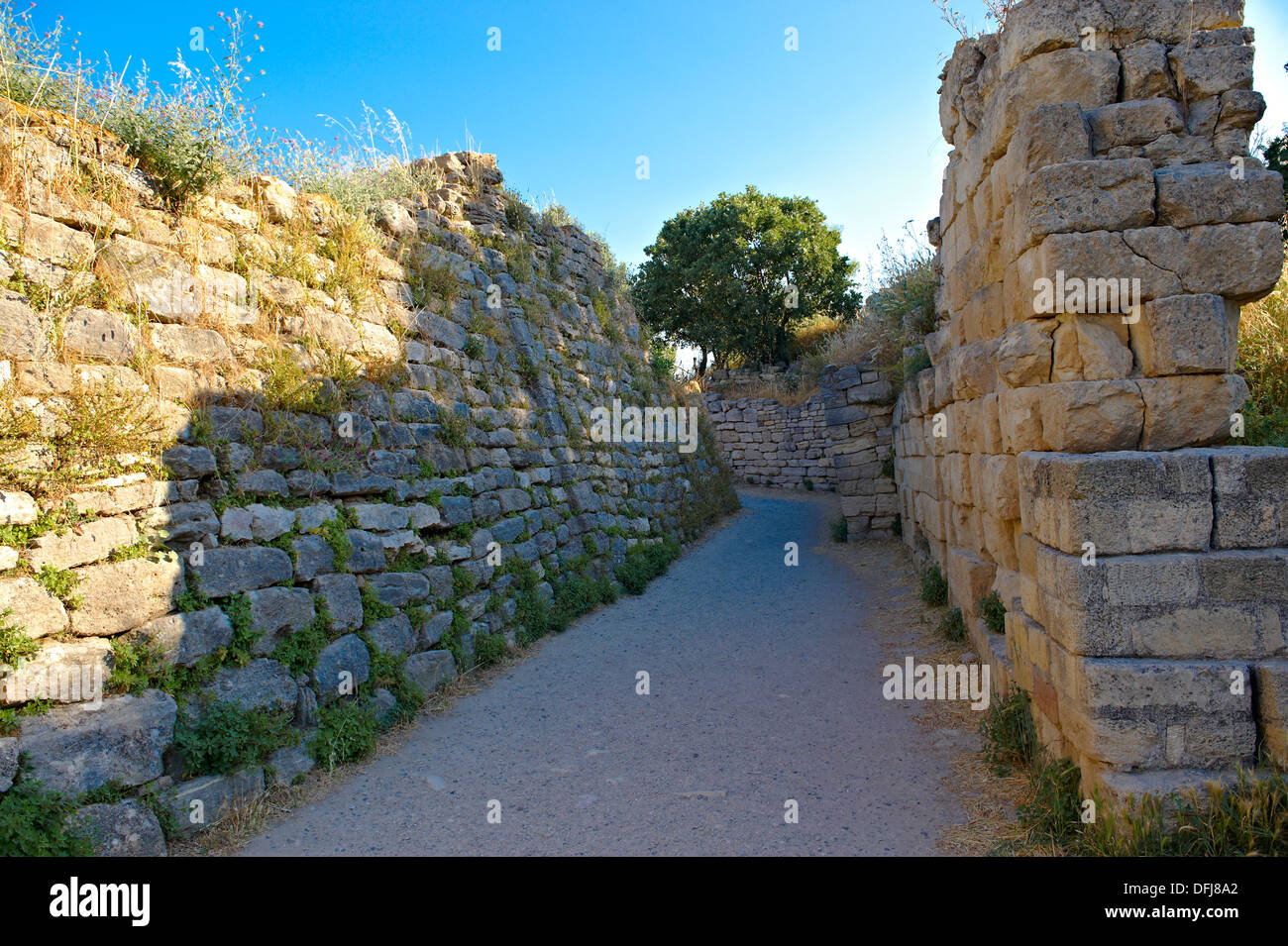 Portion of the walls & entrance gate of Troy (VII), identified as the site of the Trojan War (ca. 1200 BC). - Stock Image