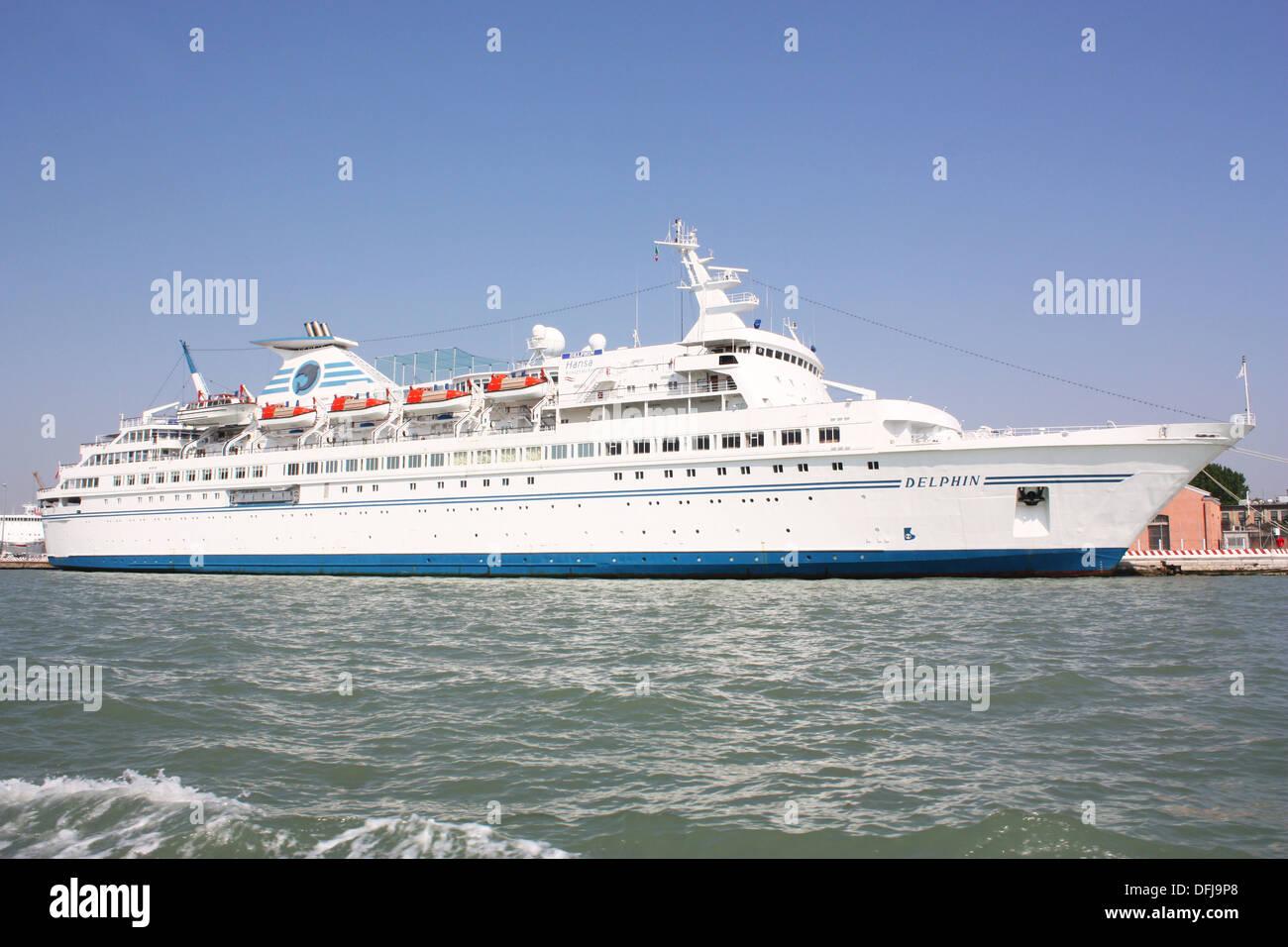 Delphine white ship in Venice, Italy - Stock Image