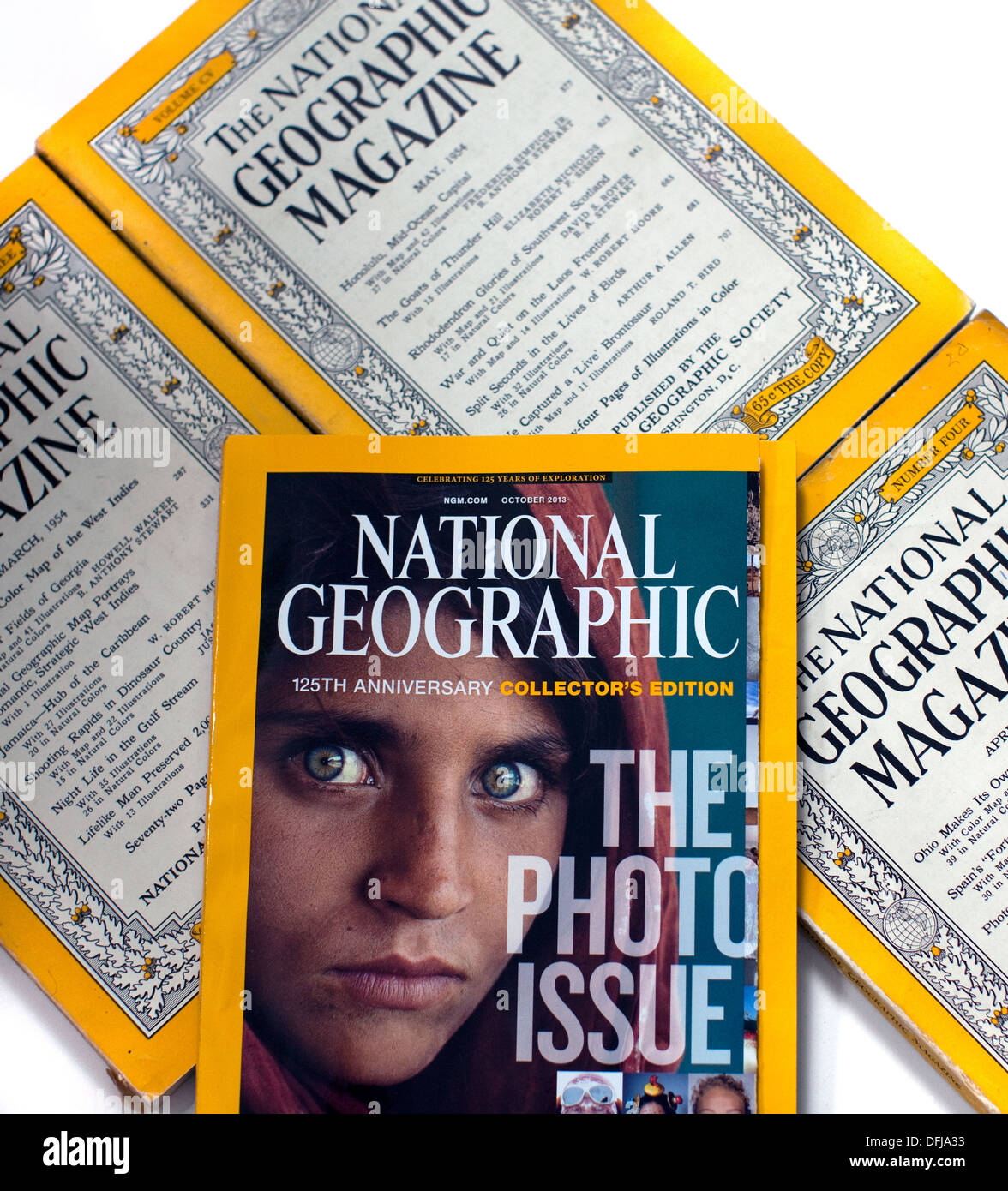 125th anniversary issue of National Geographic with vintage editions, London - Stock Image