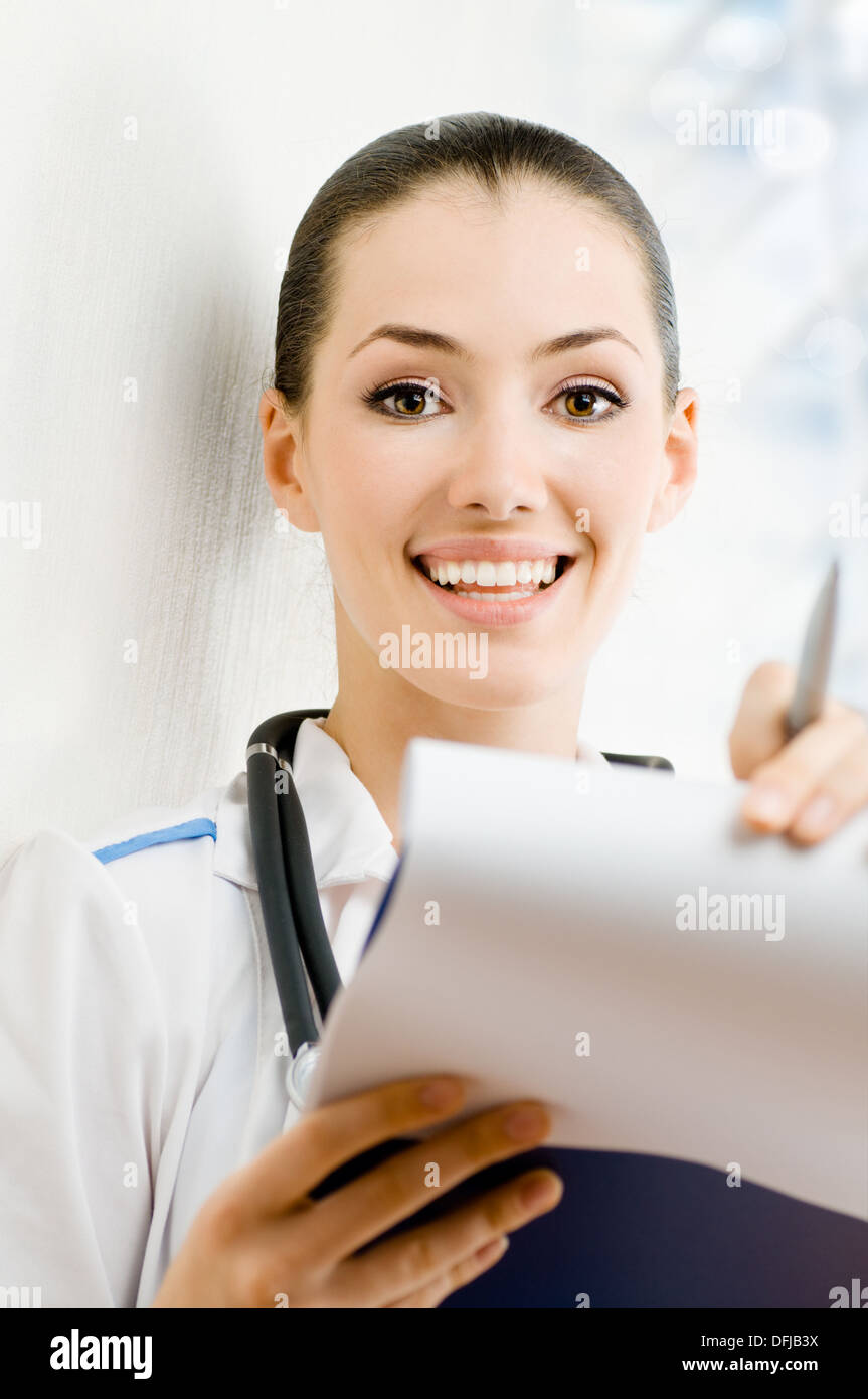 young successful doctor in the hospital room - Stock Image