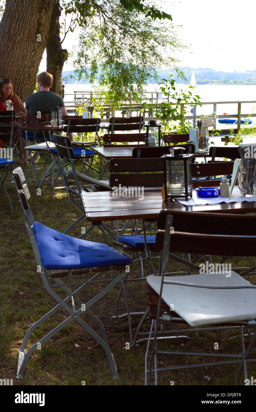 Beer garden, Herreninsel, Chiemsee Chiemgau, Upper Bavaria Germany - Stock Image